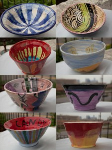 Some of the more than 100 bowls that are part of the event to benefit Go-Getters