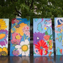 The completed murals that will become part of the Bagley Gardens pocket park.
