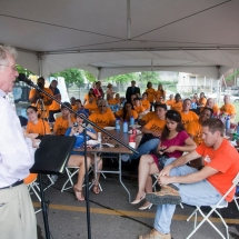 John Van Camp, President and CEO of Southwest Solutions, speaks to the volunteers.