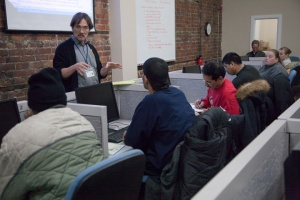 Tim speaks to students at the Adult Learning Lab at an orientation in January 2011.