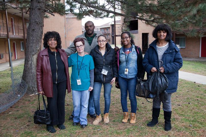 Gloria Davis (right) and her daughter Gloria Brown (left) with HRC staff persons Julie Dressler, Ben Tate, Mariam Elamine, and Danielle Springer.